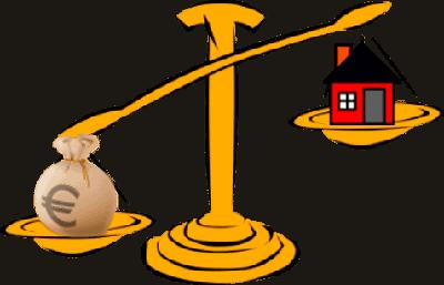 Haus Geld Immobilie Waage