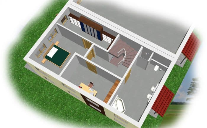 3-D Grundrissvorschlag 1. OG